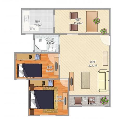 品新苑2室2厅1卫1厨114.00㎡户型图