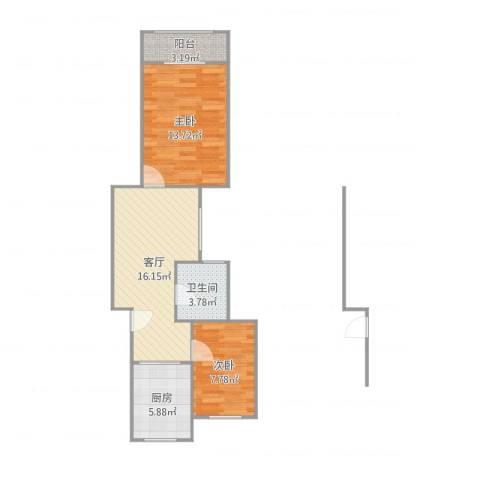 春房小区2室1厅1卫1厨63.00㎡户型图