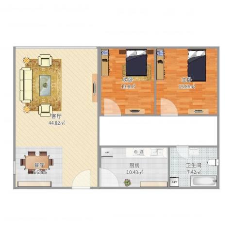 朗晴居二期2室1厅1卫1厨115.00㎡户型图