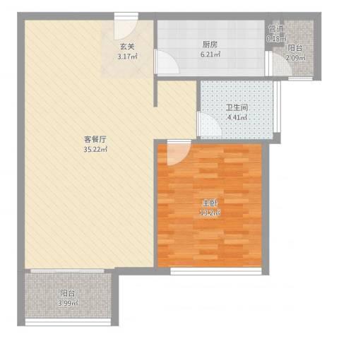 置地逸轩1室2厅1卫1厨82.00㎡户型图