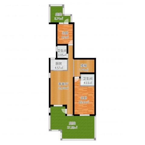 世茂・萨拉曼卡2室2厅2卫1厨129.00㎡户型图