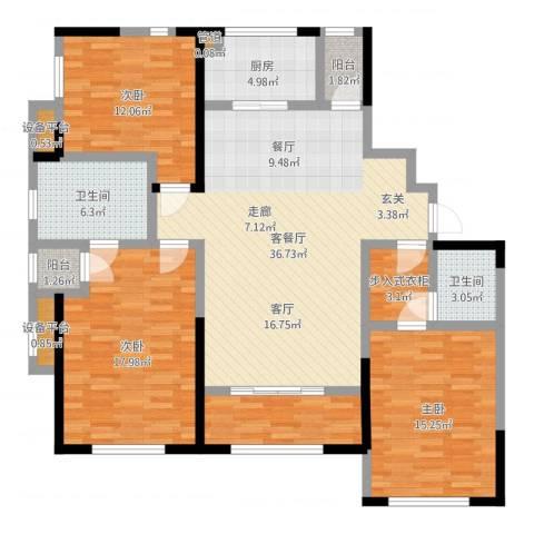 天朗五珑3室2厅2卫1厨130.00㎡户型图