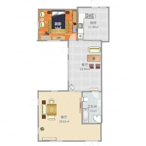 孔雀城大湖1室2厅1卫1厨110.00㎡户型图