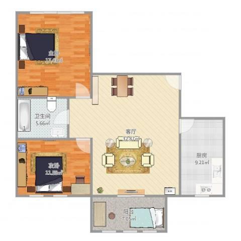 芍药居北里2室1厅1卫1厨105.00㎡户型图