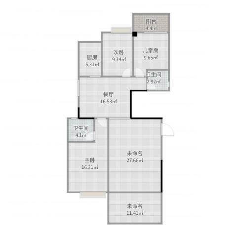 嘉逸园3室1厅2卫1厨145.00㎡户型图
