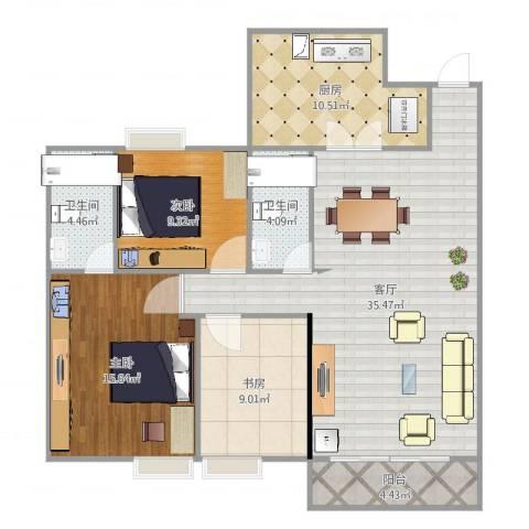 泰安居3室1厅2卫1厨116.00㎡户型图