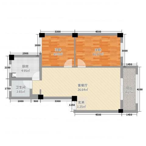 文兴东三里2室2厅1卫1厨78.00㎡户型图