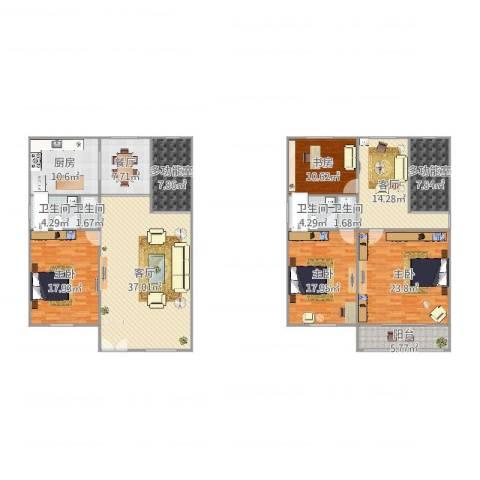 龙山小区4室3厅4卫1厨217.00㎡户型图