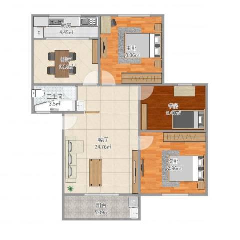 吕岭花园3室2厅1卫1厨104.00㎡户型图