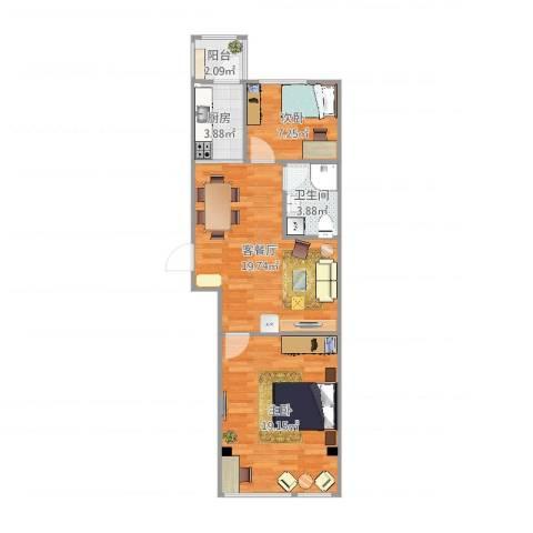 天薇丽景园2室2厅1卫1厨70.00㎡户型图