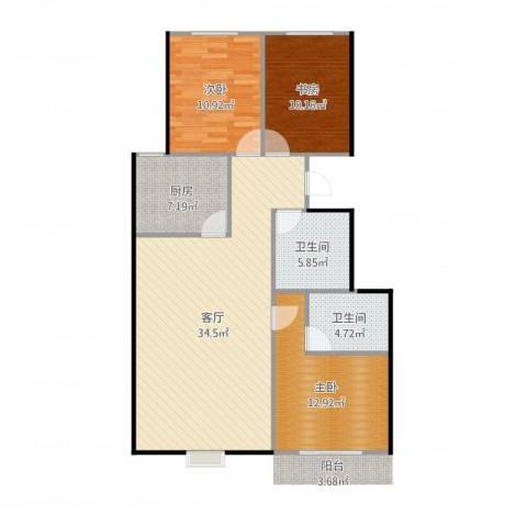 锦华名苑3室1厅2卫1厨108.00㎡户型图