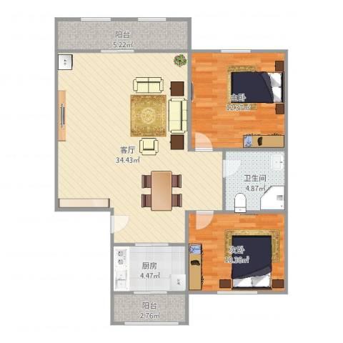 东兴南里2室1厅1卫1厨100.00㎡户型图