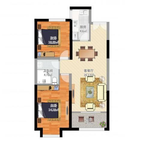 常青天地2室2厅1卫1厨81.00㎡户型图