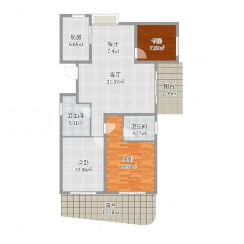 新中国际3室1厅2卫1厨107.00㎡户型图