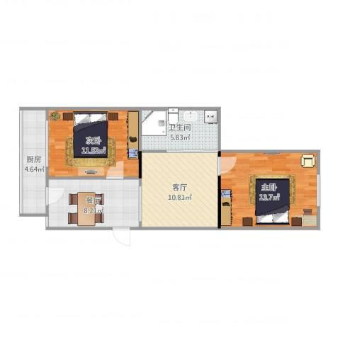 大方里小区2室2厅1卫1厨68.00㎡户型图