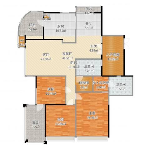 星雨华府3室2厅2卫1厨175.00㎡户型图