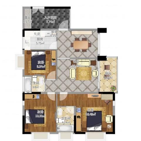 滨江花园3室1厅2卫1厨114.00㎡户型图