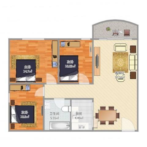 罗村花苑3室2厅1卫1厨111.00㎡户型图