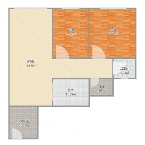 汇银环湖国际2室2厅1卫1厨192.00㎡户型图