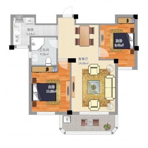 润和园2室2厅1卫1厨87.00㎡户型图
