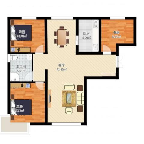 恒盛皇家花园2室1厅1卫1厨120.00㎡户型图