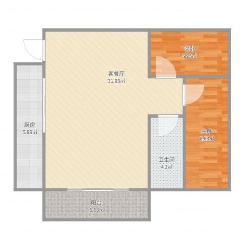 祥景楼2室2厅1卫1厨84.00㎡户型图