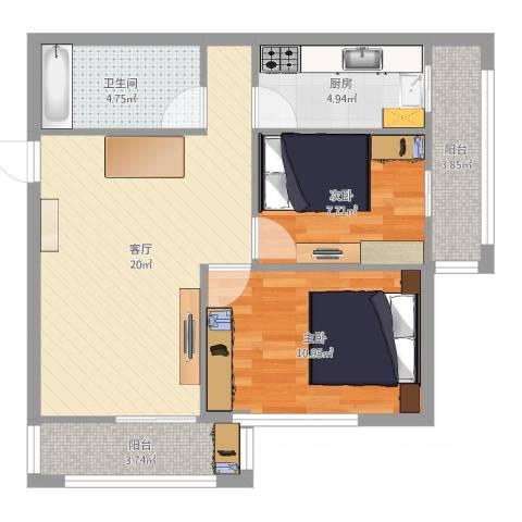 通惠家园惠民园2室1厅1卫1厨84.00㎡户型图