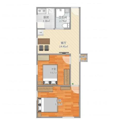 西坝河北里2室1厅1卫1厨54.00㎡户型图