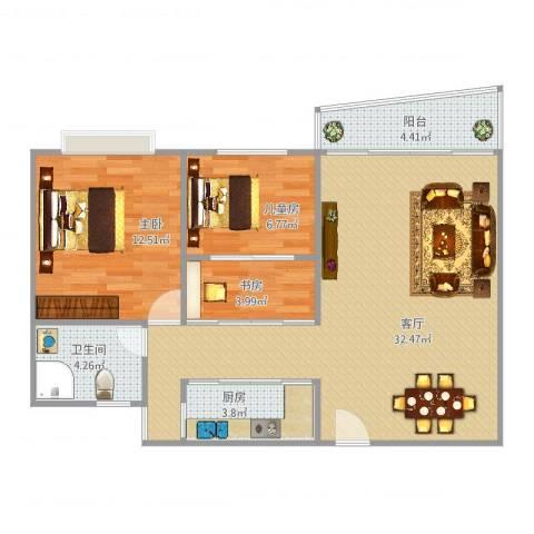 东方巴黎广场3室1厅1卫1厨92.00㎡户型图