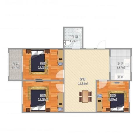 芳华路268弄小区3室1厅1卫1厨82.00㎡户型图