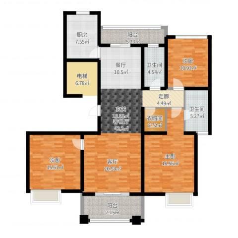铭邦华府3室2厅2卫1厨171.00㎡户型图