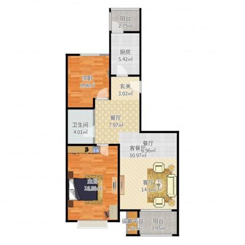 大城小镇2室2厅1卫1厨93.00㎡户型图