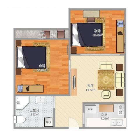 上南七村2室1厅1卫1厨62.00㎡户型图