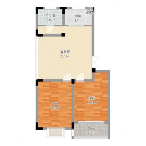 荷花苑2室2厅1卫1厨90.00㎡户型图