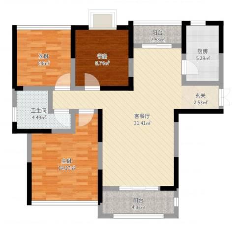 中央公园3室2厅1卫1厨80.31㎡户型图