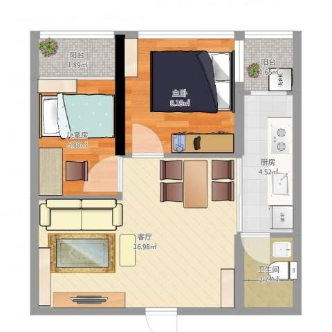白金假日公寓2室1厅1卫1厨52.00㎡户型图