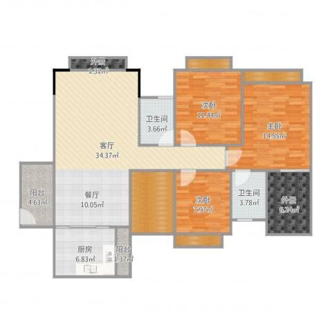 世纪城国际公馆香榭里3室1厅2卫1厨132.00㎡户型图