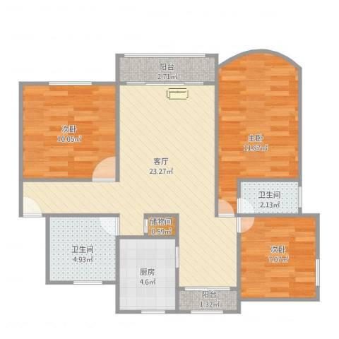 半岛花园3室1厅2卫1厨94.00㎡户型图