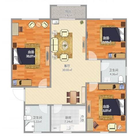 申云小区3室1厅2卫1厨122.00㎡户型图