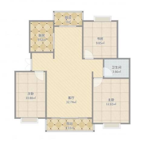 金色福园3室1厅1卫1厨104.00㎡户型图