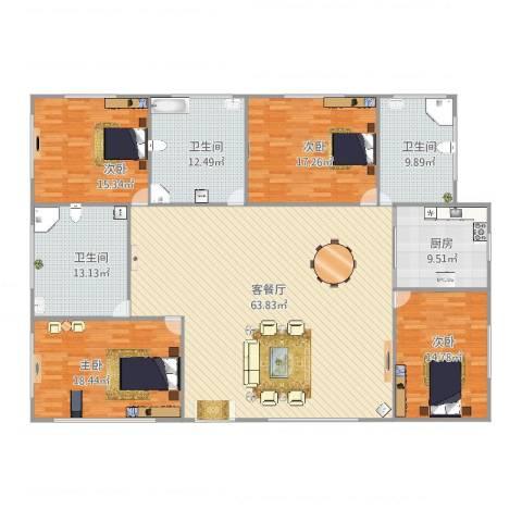 恒大海上威尼斯4室2厅3卫1厨230.00㎡户型图