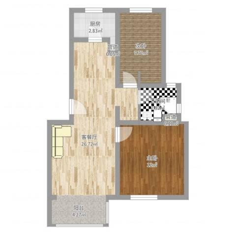 巨龙台湾城2室2厅2卫2厨65.00㎡户型图