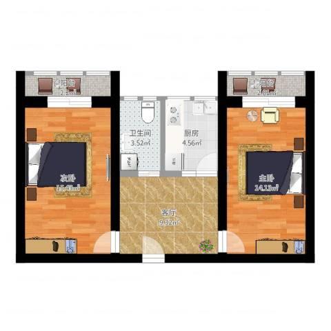 东关北里2室1厅1卫1厨64.00㎡户型图