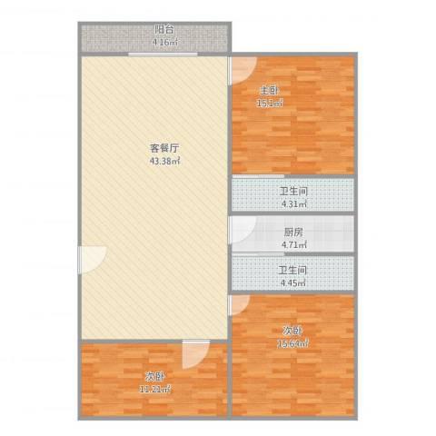 连平花园3室2厅2卫1厨138.00㎡户型图