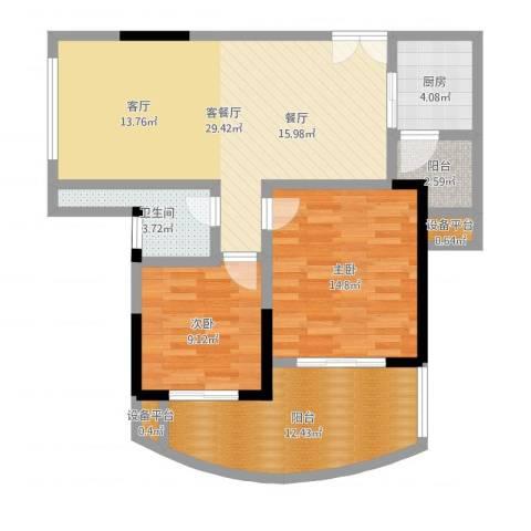 东方巴黎2室2厅3卫1厨96.00㎡户型图