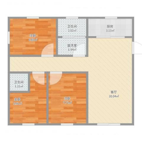 奉贤玫瑰苑3室3厅2卫1厨68.00㎡户型图