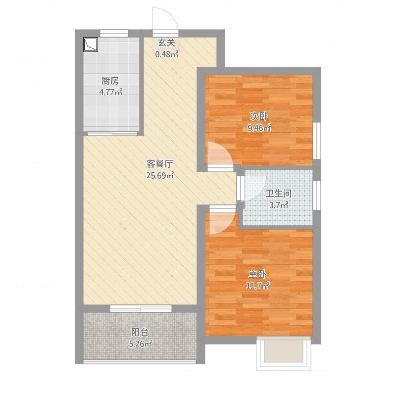 中建福地星城5-6号楼_F1户型85㎡2016-04-05-2038