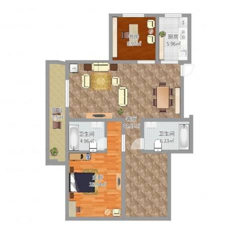 易居公馆2室1厅2卫1厨121.00㎡户型图