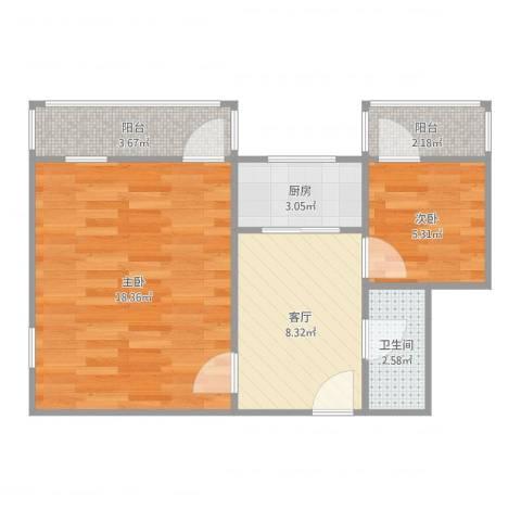 双榆树东里2室1厅1卫1厨54.00㎡户型图