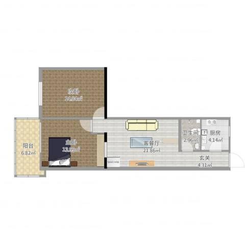 模式口西里2室2厅1卫1厨82.00㎡户型图